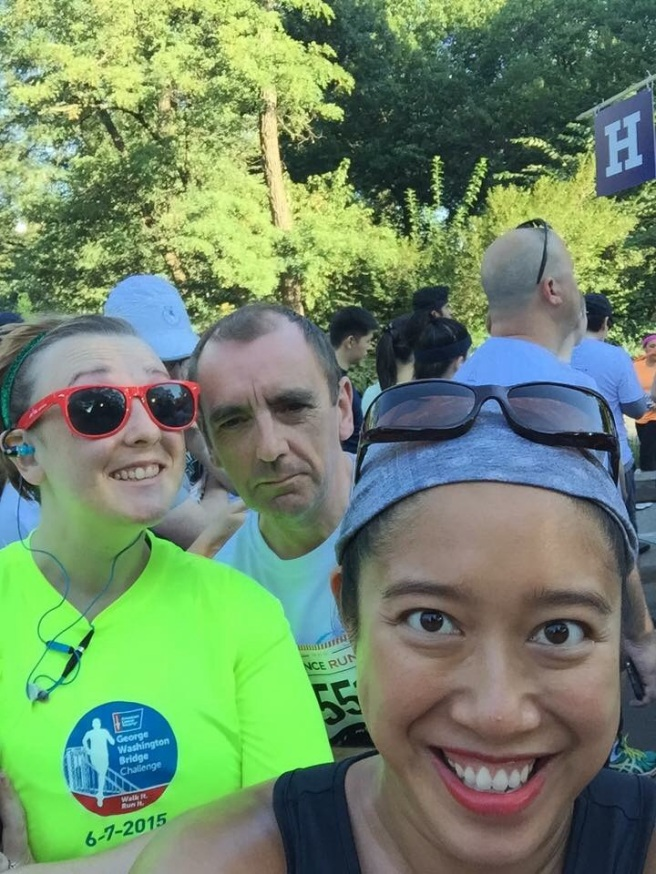 Running with my selfie-taking friend and my dad.  The family that runs together...